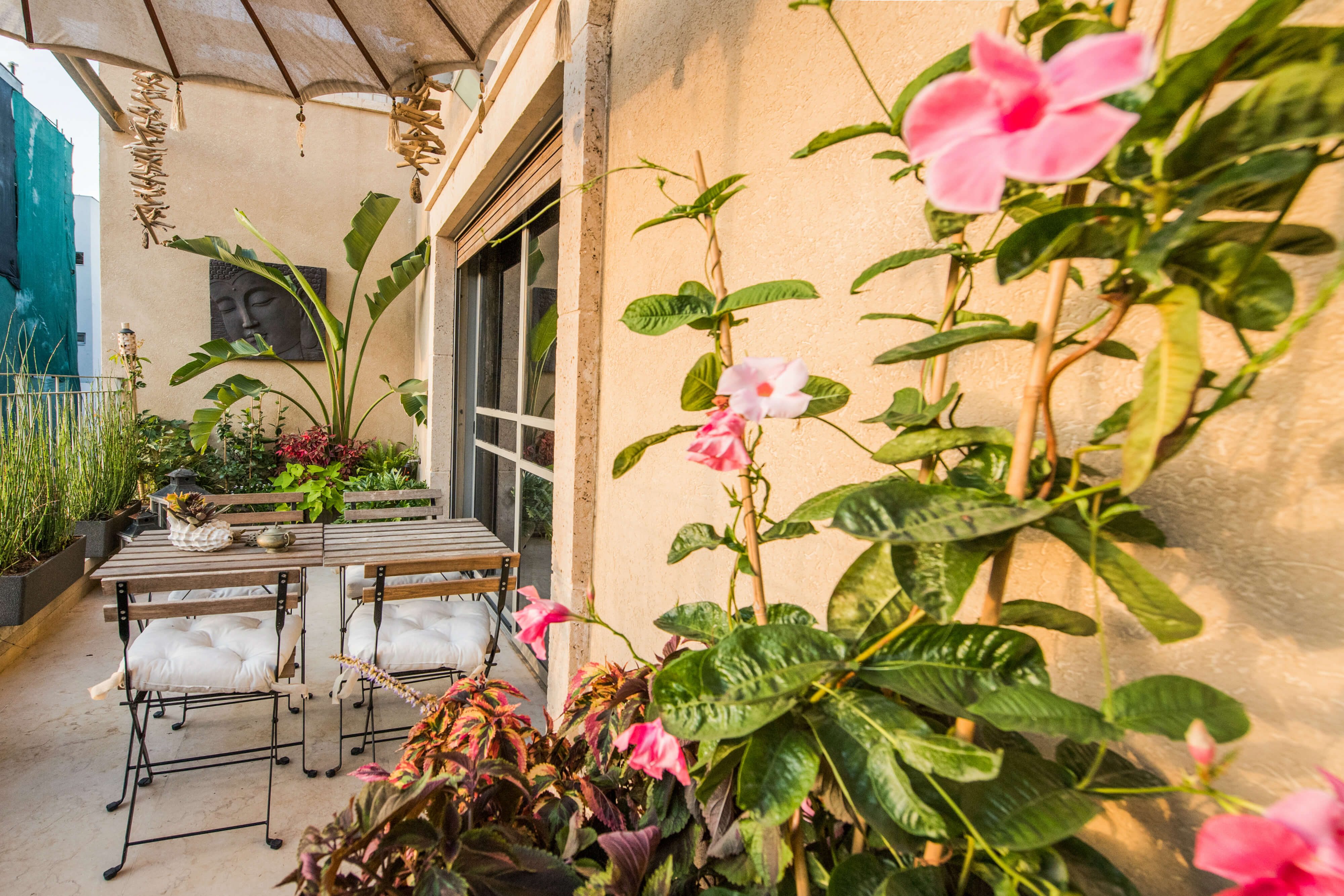 עיצוב מרפסת שמש לדירה בתל אביב